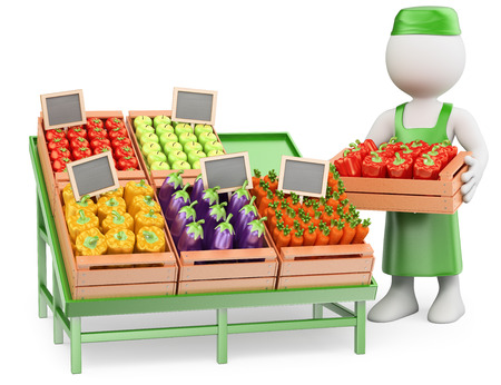 3d white people. Seller in his Greengrocer. Isolated white background.