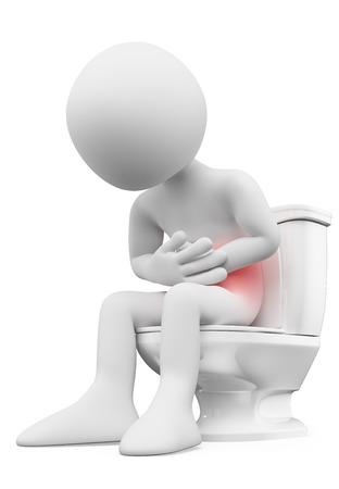 3D-weiße Menschen. Mann mit Magenschmerzen im Bad. Isolierte weißem Hintergrund. Lizenzfreie Bilder