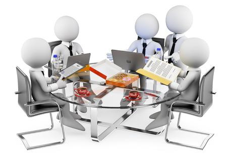 computadora: 3d gente blanca. Reunión de negocios informal. Fondo blanco aislado. Foto de archivo
