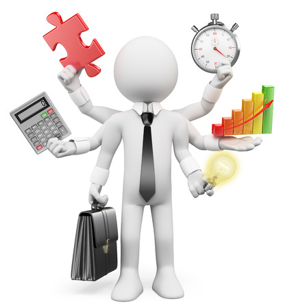 challenges: 3d white people. Multitasking businessman with puzzle piece calculator graphic stopwatch bulb. Isolated white background. Stock Photo
