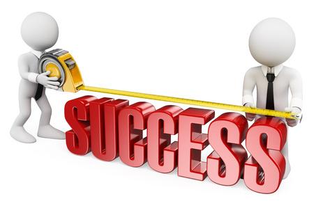 3d witte mensen. Ondernemers nemen van de mate van succes. Geïsoleerde witte achtergrond.