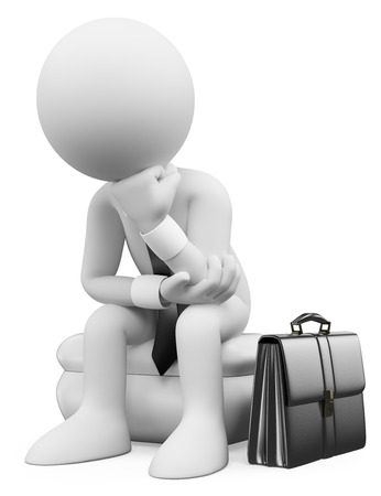 3d white people. Businessman sitting and thinking with his suitcase. Isolated white background.