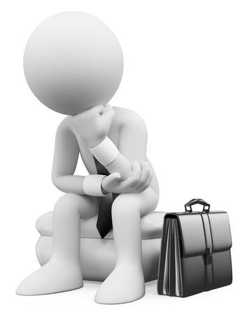 3d witte mensen. Zakenman zitten en denken met zijn koffer. Geïsoleerde witte achtergrond.