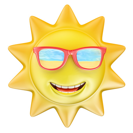 meteo: 3D estivo sole sorridente con gli occhiali. Isolato sfondo bianco. Archivio Fotografico