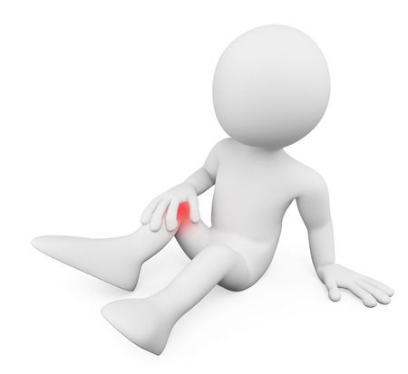 injured person: 3d white people. Man on the floor with knee pain. Isolated white background.