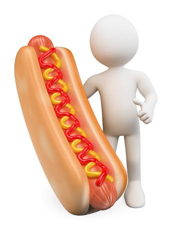 perro comiendo: 3d gente blanca. Hombre con un perro caliente con salsa de tomate y mostaza. Fondo blanco aislado.