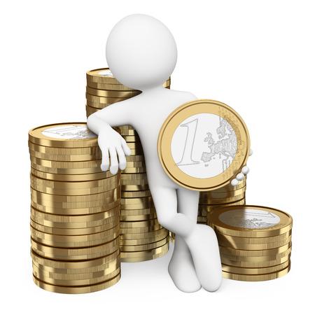 salarios: 3d gente blanca. Hombre con montones de monedas de euro. fondo blanco aislado.