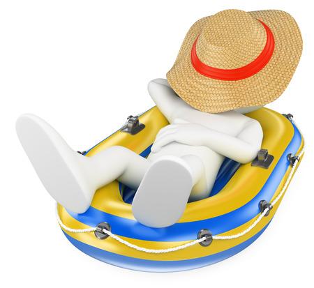 3d witte mensen. Man dutten in een opblaasbare boot. Geïsoleerde witte achtergrond.