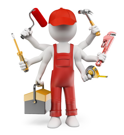 3d white people. Multitasking handyman with screwdriver tool box tape measure hammer wrench pipes paint roller. Isolated white background. Archivio Fotografico