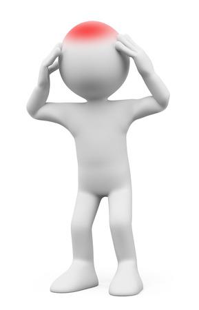 3D-weiße Menschen. Mann mit Kopfschmerzen. Isolierte weißem Hintergrund. Lizenzfreie Bilder