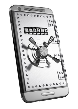 3d mobile with safe door and access password. Security concept. Isolated white background. Archivio Fotografico