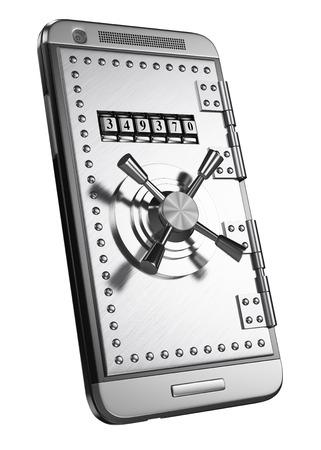 3d mobiel met kluisdeur en toegang wachtwoord. Beveiliging concept. Geïsoleerde witte achtergrond.