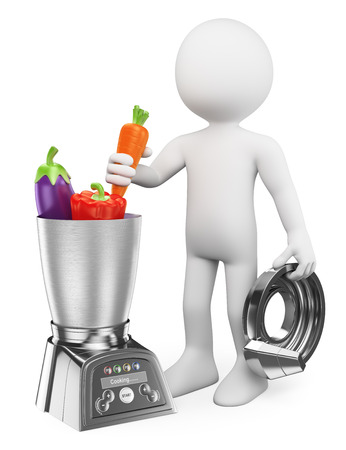 green vegetables: 3d white people. Man cooking healthy in a food processor. Vegetables. Isolated white background.