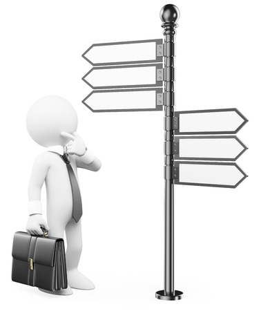 direction sign: 3d white people. Thoughtful man with a direction sign deciding which direction to take. Isolated white background.