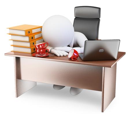 psací stůl: 3d bílí lidé. Velmi ospalý podnikatel zpět do práce po prázdninách. Izolované bílém pozadí.