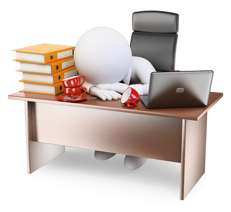 computers: 3d white people. Very sleepy businessman back to work after holidays. Isolated white background. Stock Photo
