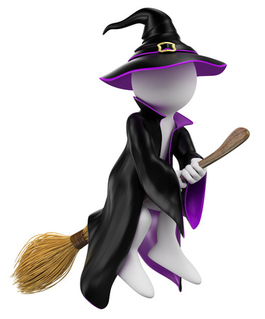 3d halloween: 3d white people. Halloween. Witch flying on her broomstick. Isolated white background.