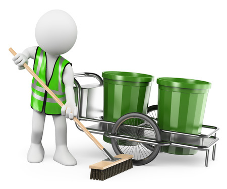3d white people. Sweeper working with his broom. Isolated white background.