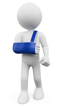 broken wrist: 3d white people. Man with arm in sling. Isolated white background.