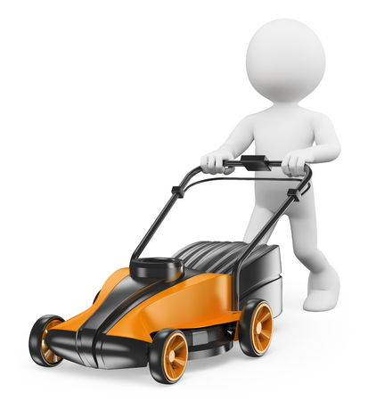 3d white people. Man with a lawn mower. Isolated white background.