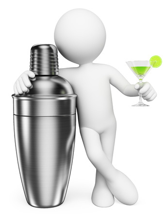 chrome man: 3d white people. Man with a shaker and a cocktail. Isolated white background.
