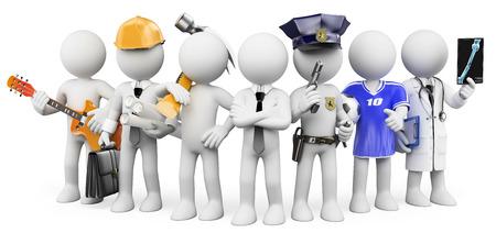3 d の白い人。別の職業で働く人。孤立した白い背景。