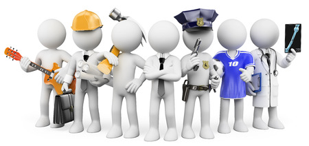 3d white people. People working in different professions. Isolated white background.