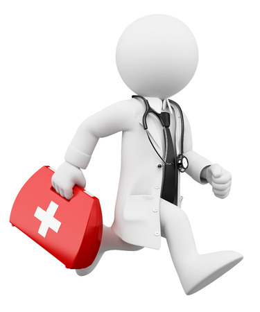 3d white people. Doctor running with a first aid kit. Isolated white background. Archivio Fotografico
