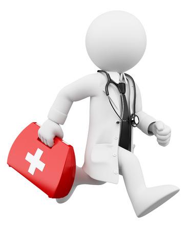 botiquin de primeros auxilios: 3d gente blanca. El doctor se ejecuta con un botiqu�n de primeros auxilios. Fondo blanco aislado. Foto de archivo