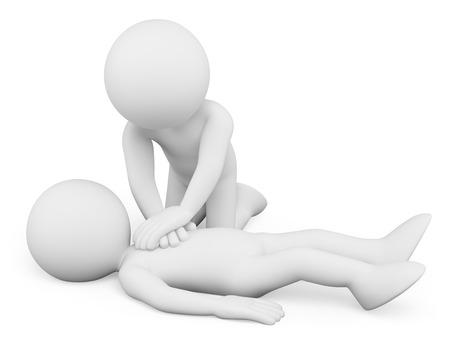 3d vita människor. Hjärt-lungräddning. CPR. Isolerad vit bakgrund.