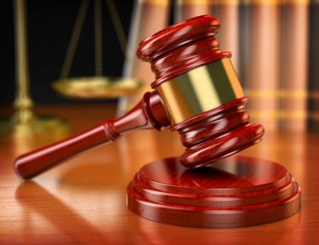 3d wooden gavel. Law concept. Realistic render Banque d'images
