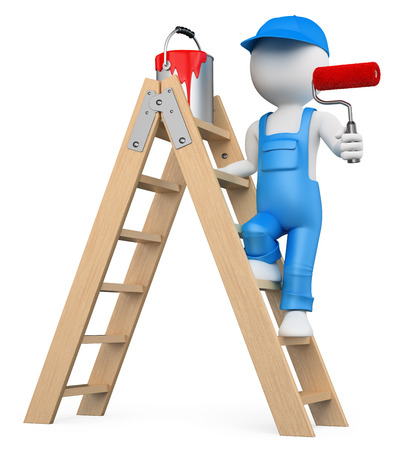 3d white people. Painter on a ladder painting with a roller brush. Isolated white background. Stok Fotoğraf