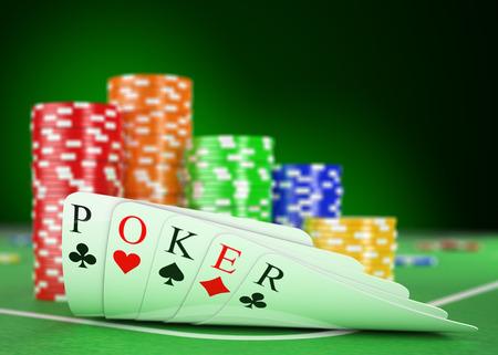 cartas poker: Casino 3d. Mesa de póker con cartas y fichas. Realista render Foto de archivo