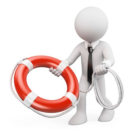 preserver: 3d white people. Businessman throwing a life preserver. Isolated white background.