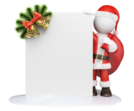 white people: 3d white people. Santa Claus with a blank and a garland. Isolated white background. Stock Photo