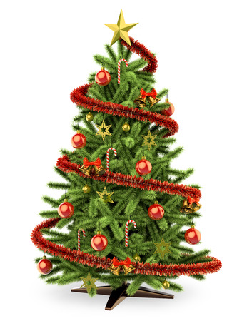 3d white people. 3D Christmas tree. Isolated white background.