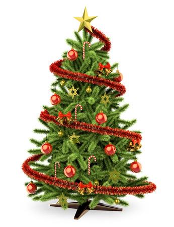 3d witte mensen. 3D kerstboom. Geïsoleerde witte achtergrond. Stockfoto