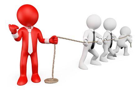 liderazgo empresarial: 3d gente blanca. Metáfora del asunto. Fuerte liderazgo. Fondo blanco aislado. Foto de archivo