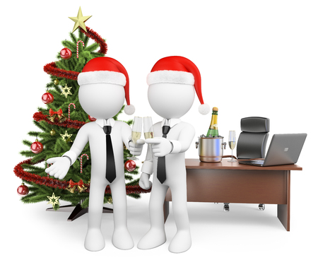 3d white people. Business people making a toast at the office for the new year. Isolated white background.