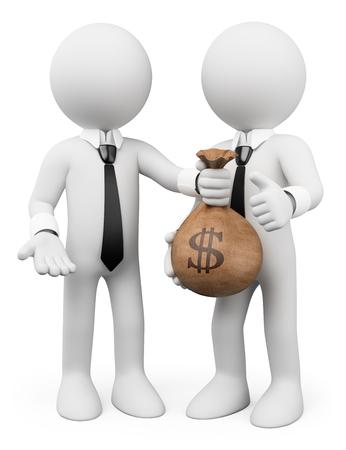 3d witte mensen. Lening concept. Man die een zak met geld naar de andere. Bedrijfs metafoor. Geïsoleerde witte achtergrond. Stockfoto