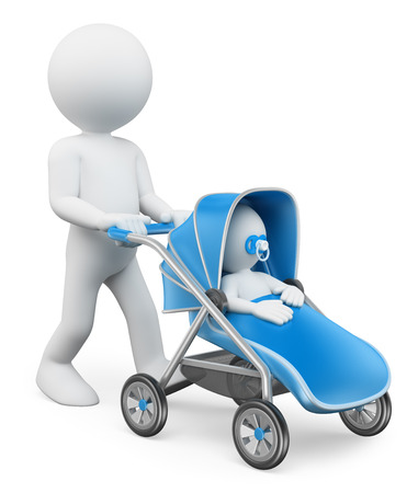 perambulator: 3d white people. Man pushing a baby stroller. Isolated white background.