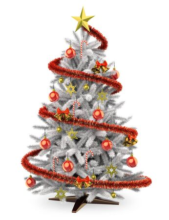 red and white: 3D white christmas tree. Isolated white background.