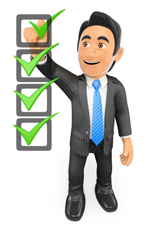 form: 3d business people. Businessman filling a check list with ticks. Isolated white background.