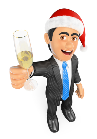 3d business people. Businessman toasting with a glass of champagne at christmas. Isolated white background. Stock Photo