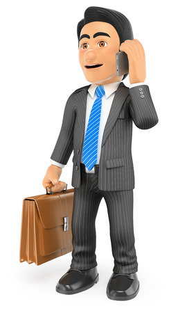 3d business people. Businessman with his briefcase talking on the mobile phone. Isolated white background.