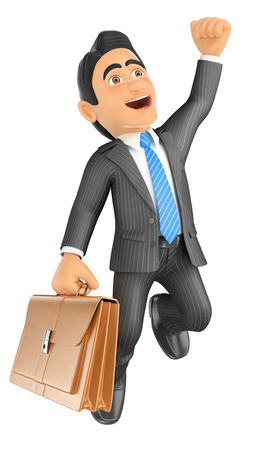 businessman jumping: 3d business people. Businessman jumping for joy. Success. Isolated white background. Stock Photo