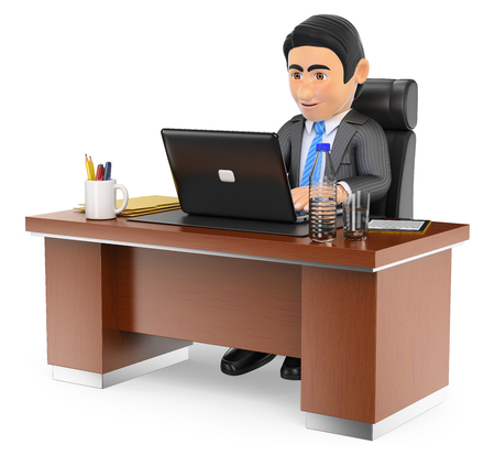 laptop isolated: 3d business people. Businessman working in the office with his laptop. Isolated white background. Stock Photo
