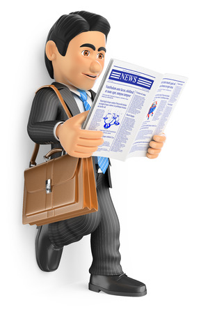 reads: 3d business people. Businessman reading the latest news in the newspaper. Isolated white background. Stock Photo