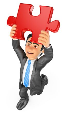 red puzzle piece: 3d business people. Businessman putting a red puzzle piece. Solution. Isolated white background.