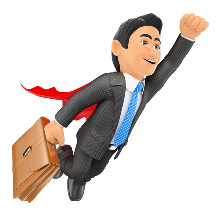 3d business people. Super businessman flying with cape and briefcase. Isolated white background. Stock Photo
